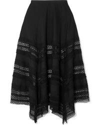 Charo Ruiz Benna Crocheted Lace-paneled Cotton-voile Maxi Skirt - Black