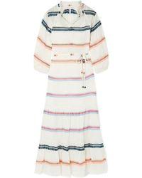 Apiece Apart Robe Longue En Voile De Coton À Rayures Granada - Blanc