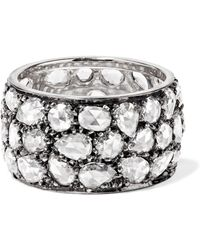 Fred Leighton - Collection Blackened Platinum Diamond Ring - Lyst