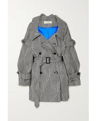 Nina Ricci Off-the-shoulder Belted Houndstooth Wool Coat - Black