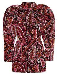 ROTATE BIRGER CHRISTENSEN Button-detailed Ruched Printed Cotton-velvet Mini Dress - Red