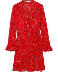 Paloma Blue - Fiesta Ruffled Floral-print Silk Wrap Dress - Lyst
