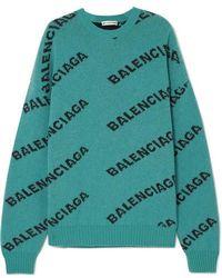 Balenciaga Oversized-pullover Aus Einer Wollmischung Mit Intarsienmotiven - Grün