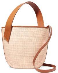 Tl-180 Panier Saigon Leather-trimmed Woven Raffia Shoulder Bag - Natural