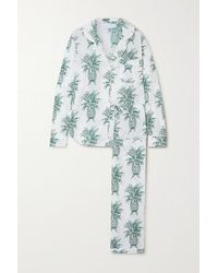 Desmond & Dempsey Howie Printed Organic Cotton Pyjama Set - Green