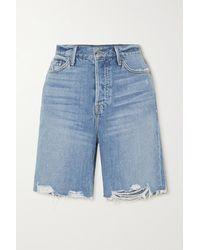 GRLFRND Marjan Distressed Denim Shorts - Blue