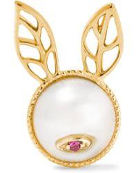 Yvonne Léon | 18-karat Gold, Pearl And Ruby Earring | Lyst
