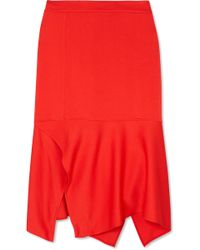 Victoria Beckham - Asymmetric Crepe Midi Skirt - Lyst