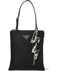Prada Crystal-embellished Nylon Tote - Black