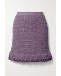 Bottega Veneta Fringed Polka-dot Crochet-knit Cotton Mini Skirt - Purple