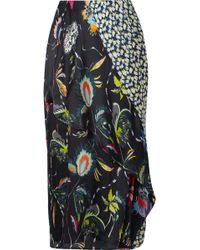 Jason Wu - Paneled Floral-print Silk-crepon Midi Skirt - Lyst