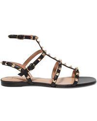 Valentino - Garavani The Rockstud Leather Sandals - Lyst