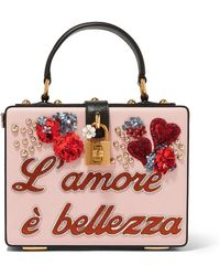 9b3203a80db2 Dolce   Gabbana - Dolce Box Embellished Textured-leather Clutch - Lyst