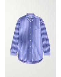Balenciaga Gestreiftes Oversized-hemd Aus Baumwollpopeline - Blau