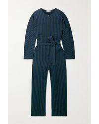 Apiece Apart Mars Belted Striped Herringbone Cotton Jumpsuit - Blue