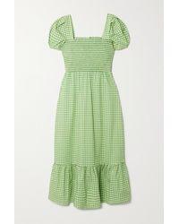 HVN Shirred Gingham Cotton-blend Poplin Maxi Dress - Green