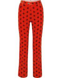 Chloé - Printed Cotton-blend Corduroy Slim-leg Pants - Lyst