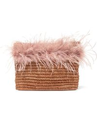 Loeffler Randall - Feather-trimmed Straw Pouch - Lyst