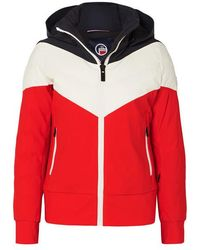 Fusalp Lia Hooded Color-block Quilted Padded Ski Jacket - Red
