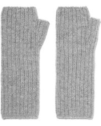 Johnstons - Ribbed Cashmere Fingerless Gloves - Lyst