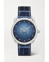Hermès Arceau Soleil 36mm Medium Stainless Steel, Alligator And Diamond Watch - Blue