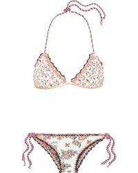 Anjuna - Olivia Wendbarer Triangel-bikini Mit Print Und Häkelbesatz - Lyst