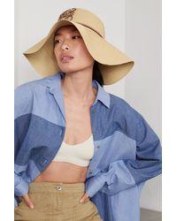 Loewe + Paula's Ibiza Leather-trimmed Straw Hat - Multicolour