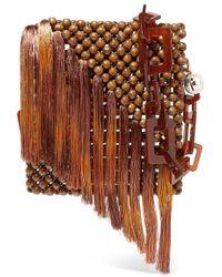 Rosantica Eddie Tasseled Beaded Shoulder Bag - Brown