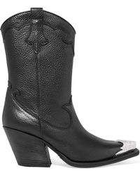 McQ - Tammy Embellished Textured-leather Ankle Boots - Lyst
