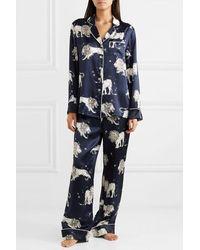 Olivia Von Halle Lila Pyjama Aus Bedrucktem Seidensatin - Blau