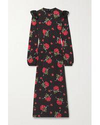 Rodarte - Ruffled Printed Silk-blend Crepe Midi Dress - Lyst