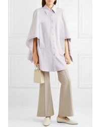 Low Classic Convertible Draped Woven Shirt - Purple