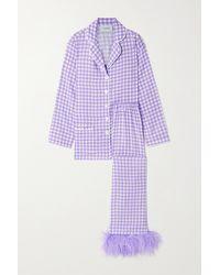 Sleeper Feather-trimmed Crepe De Chine Pyjama Set - Purple