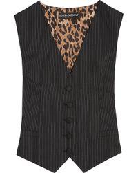 Dolce & Gabbana - Pinstriped Wool-blend And Leopard-print Satin Vest - Lyst