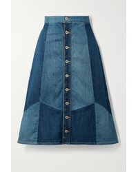 Nili Lotan Madeline Midi-jeansrock In Patchwork-optik - Blau