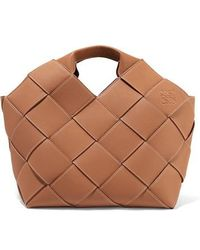 Loewe Woven Textured-leather Tote - Brown