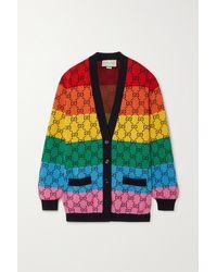Gucci Gg Multicolour Striped Intarsia Wool-blend Cardigan