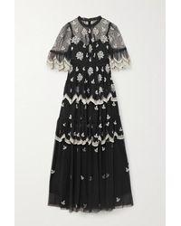 Needle & Thread Amber Petal Gestufte Robe Aus Tüll Mit Webpunkten Und Stickereien - Schwarz