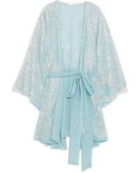 Rosamosario - Cosmic Love Chantilly Lace And Silk-crepe Robe - Lyst