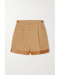 Gucci Leather-trimmed Linen-blend Jacquard Shorts - Natural