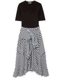Maje - Kleid Aus Stretch-jersey Und Einer Baumwollmischung Mit Gingham-karo - Lyst