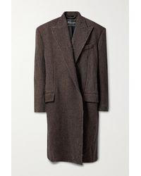 Balenciaga Oversized Distressed Wool-tweed Coat - Brown
