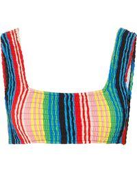 Diane von Furstenberg - Smocked Striped Bikini Top - Lyst