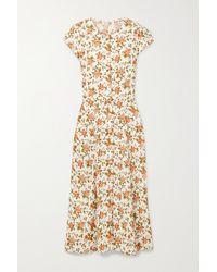 Reformation Fauna Floral-print Crepe Midi Dress - White
