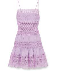 Charo Ruiz - Joya Broderie Anglaise Cotton-blend Mini Dress - Lyst