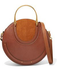 Chloé - Pixie Large Suede And Textured-leather Shoulder Bag - Lyst
