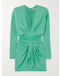 Alexandre Vauthier Draped Stretch-crepe Mini Dress - Green