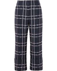 Oscar de la Renta - Cropped Checked Cotton-blend Bouclé Straight-leg Trousers - Lyst