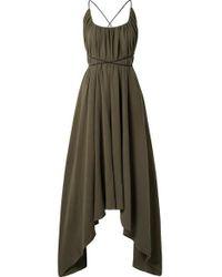 Caravana Takax Leather-trimmed Asymmetric Cotton-gauze Maxi Dress - Green