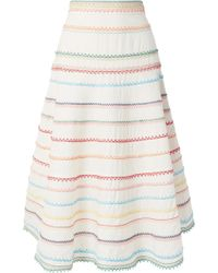 Zimmermann - Laelia Embroidered Linen And Cotton-blend Skirt - Lyst